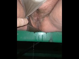 Wife peeing panties at the park part 2