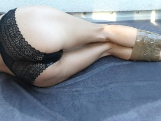 tied girl can`t hold it and pees in her sexy panties