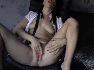 Businesswoman masturbation on the chair and squirt