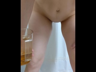 Closeup pee in cup from behind. Huge milky boobs and leaky nipple! ❤️