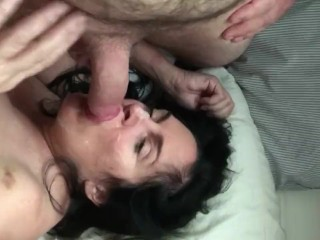 Humiliating desperate old lady, face fucked, spit on