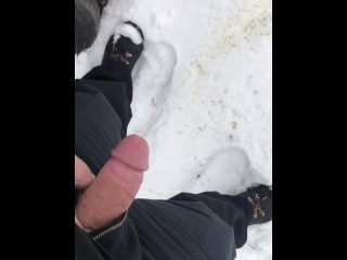 My friend peeing in the snow