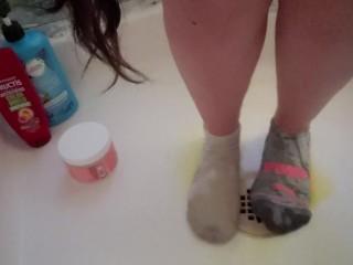 Wetting My Panties Onto MisMatched Socks Makes My Feet So Warm