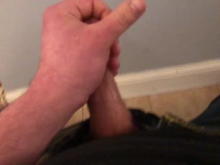 Naughty self piss on jeans and wall, then cum