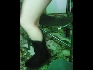 Drunk party girl in short skirt loses panties on a bet