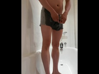 Boxers desperation and wetting in [m]y hotel shower 2/3