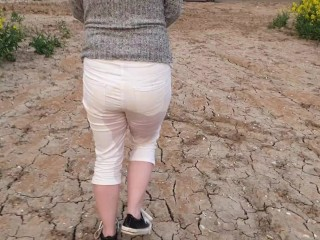 Alice wetting her pee stained white jeans in nature (from our compilation)