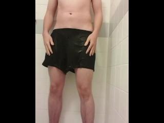 Male pee holding desperation