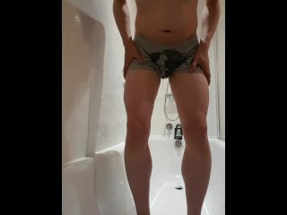 Boxers desperation and wetting in [m]y hotel shower 1/3