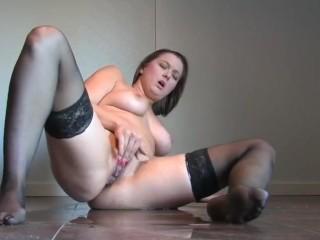 Becky masturbates and pees