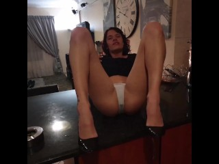 smoking slut desperately pissing her white panties and slipping in her piss