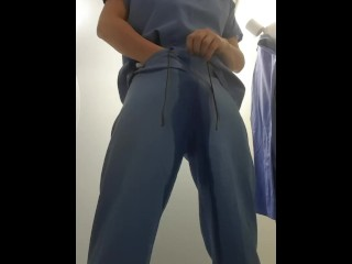 Sweet relief from holding on a late shift - omorashi and wetting in scrubs