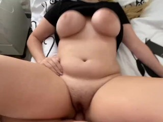 Teen girl lost her panties at a party and is now in bed, gets creampied