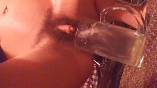 Big clit pee in cup