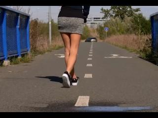 Vanessa Hell peeing on a bridge