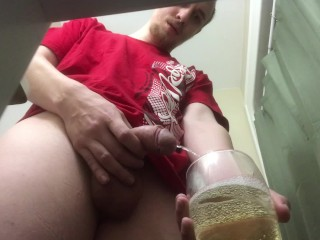 DESPERATION PEE!! Filling a glass cup full of piss!! AFTER HOLDING IT.