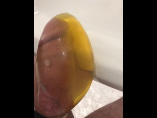 Desperate to pee, held until hard then let it go in super tight condom