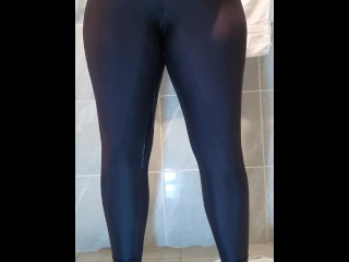Girlfriend Pees In Her Gym Pants In Bathroom Wetting Yoga Pants