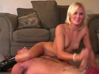 Cute girl JC scissor holds a guy and jerks his cock till he cums!