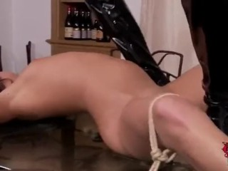 Dominatrix lesbian plays with pee desperate slave