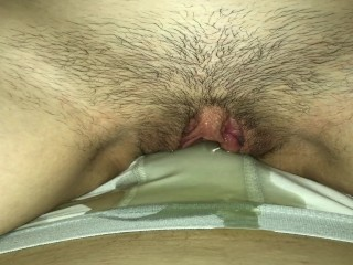 girl peeing on guy's lap soaking his undies with piss
