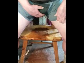 Guy desperate to pee wets in undeewear
