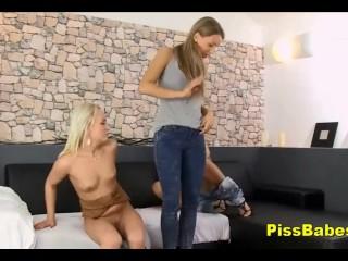 Stunning Teens in Lesbian Pissing Sex Play