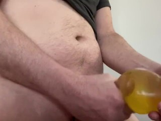 Final play warm piss in condom. I cum for you!!