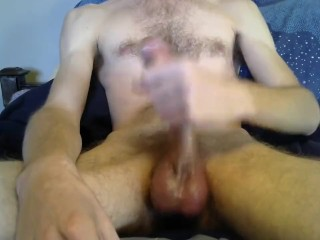 stroking my big white cock until i cant hold back myself 1
