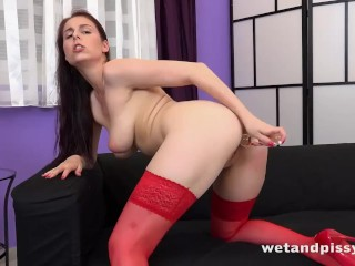 Busty Brunette Pees Her Hotpants